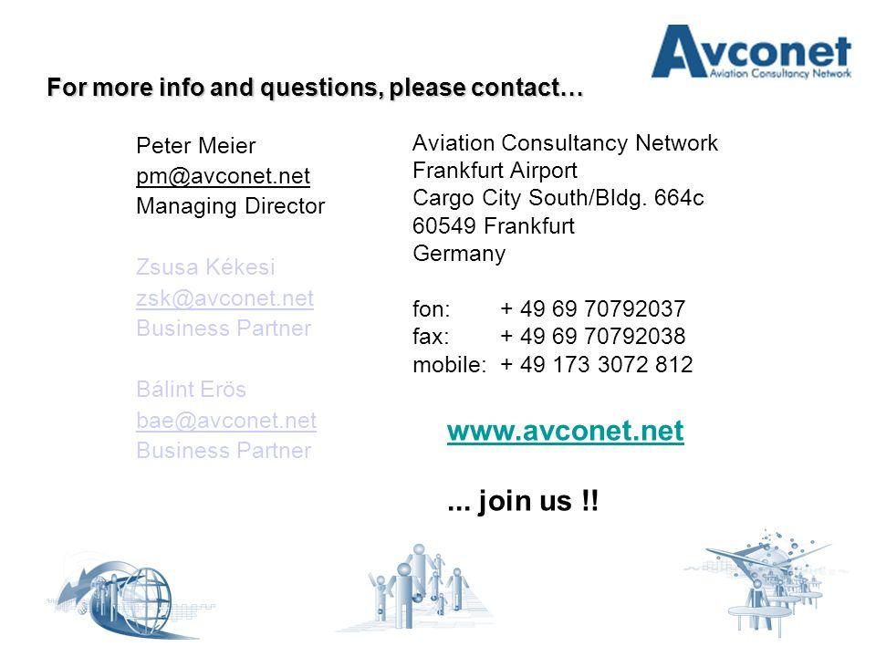 For more info and questions, please contact… Peter Meier pm@avconet.net Managing Director Zsusa Kékesi zsk@avconet.net Business Partner Bálint Erös bae@avconet.net Business Partner Aviation Consultancy Network Frankfurt Airport Cargo City South/Bldg.