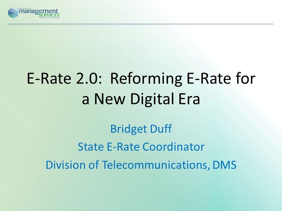 Overview of E-Rate Program  Began January 1998  Eligible K-12 schools and libraries receive discounts of 20% - 90% on eligible: Priority 1: Connectivity  Telecommunications  Internet Access Priority 2: Internal Infrastructure  Internal Connections  IC Maintenance