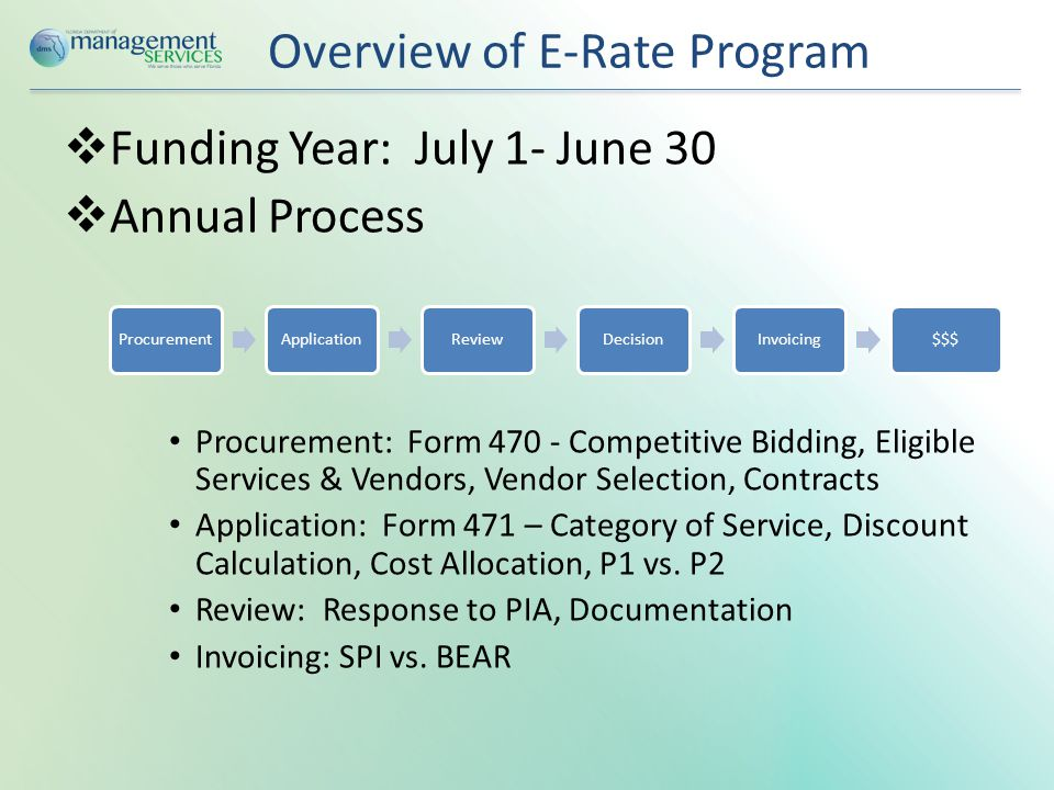 Overview of E-Rate Program  Funding Year: July 1- June 30  Annual Process Procurement: Form 470 - Competitive Bidding, Eligible Services & Vendors, Vendor Selection, Contracts Application: Form 471 – Category of Service, Discount Calculation, Cost Allocation, P1 vs.