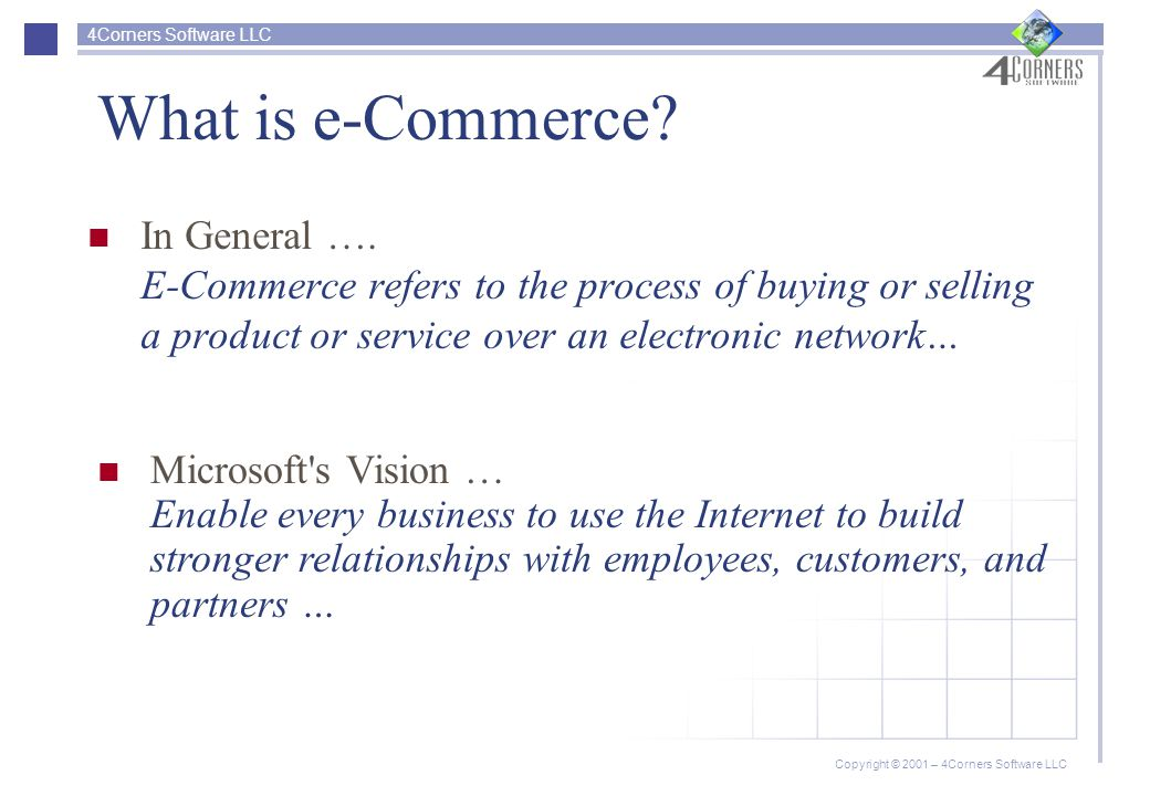 4Corners Software LLC Copyright © 2001 – 4Corners Software LLC Forms of e-Commerce PartnersYouConsumerConsumer* C2C For consumers trading.