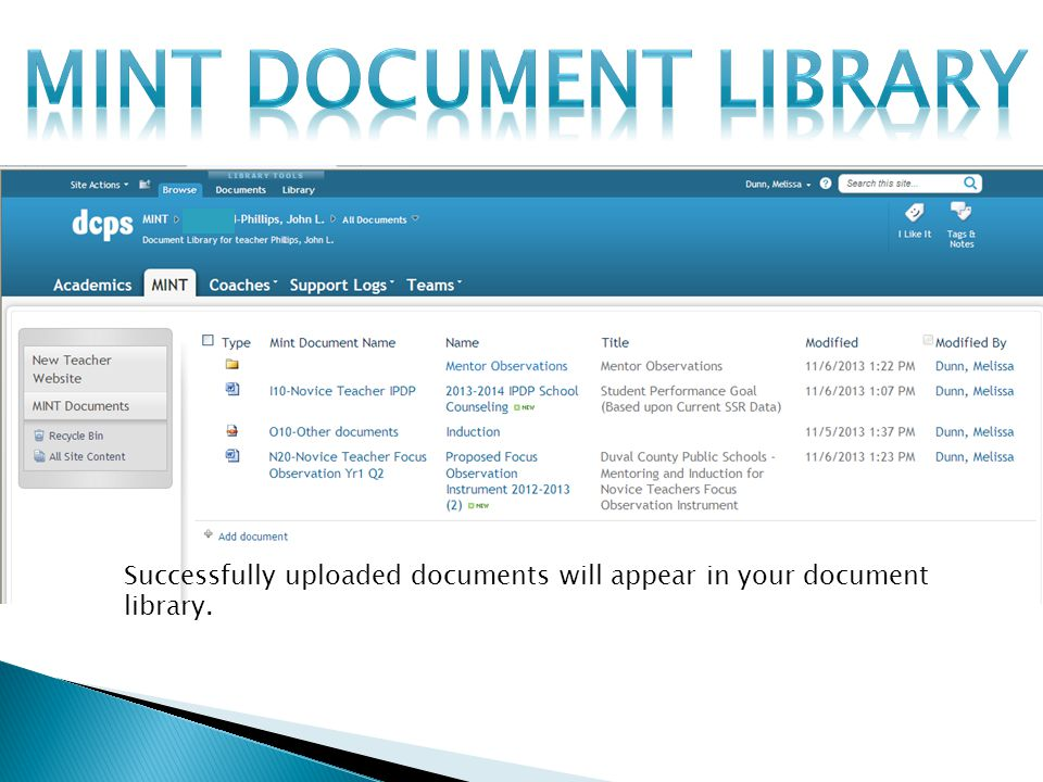 Successfully uploaded documents will appear in your document library.