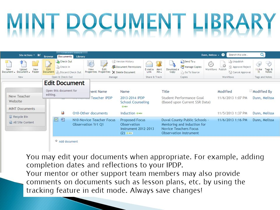 You may edit your documents when appropriate.
