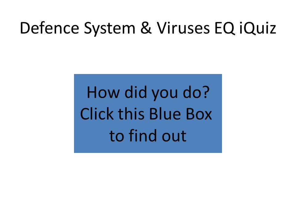 How did you do? Click this Blue Box to find out Defence System & Viruses EQ iQuiz