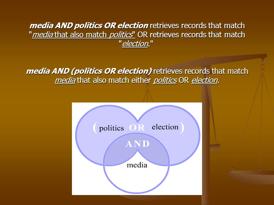 media AND politics OR election retrieves records that match media that also match politics OR retrieves records that match election. media AND (politics OR election) retrieves records that match media that also match either politics OR election.