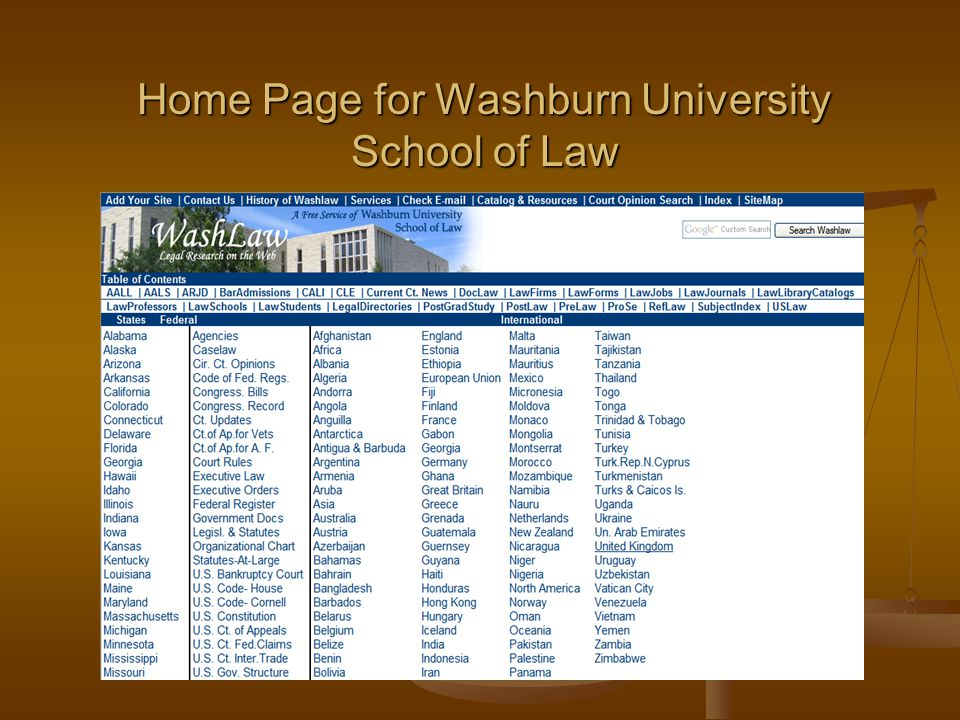 Home Page for Washburn University School of Law