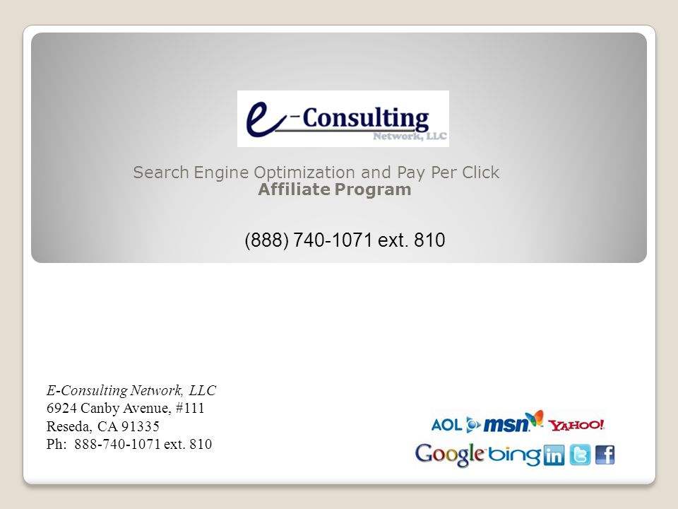 Search Engine Optimization and Pay Per Click Affiliate Program (888) 740-1071 ext.