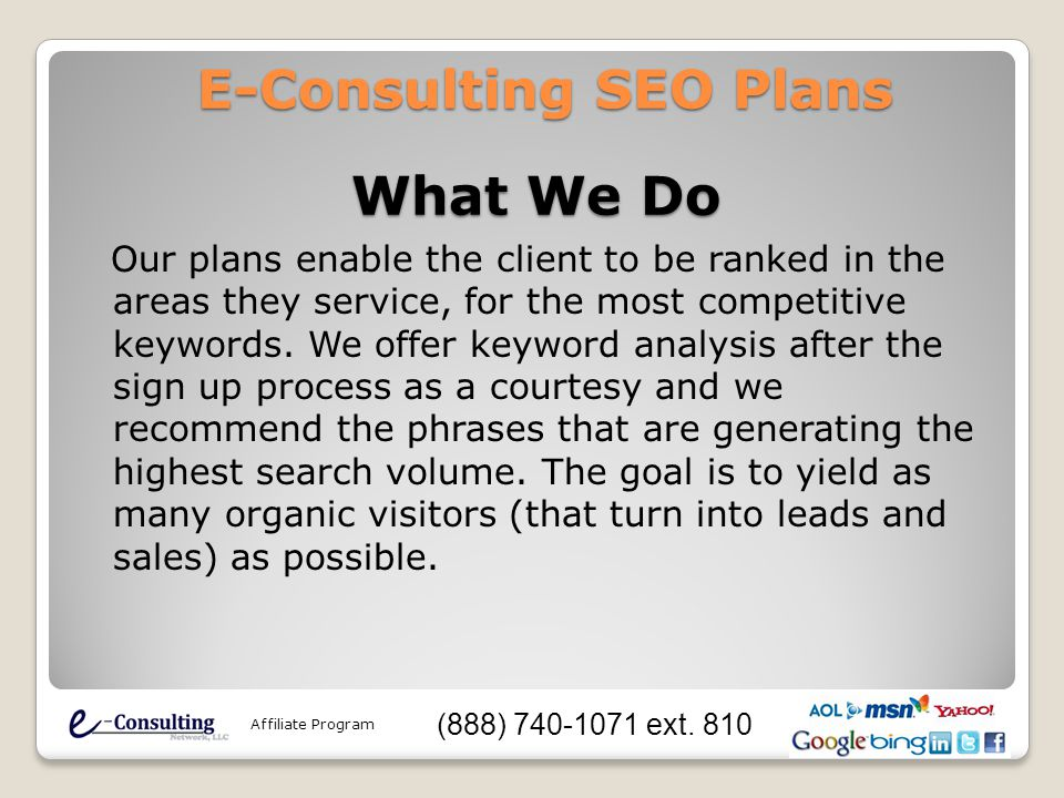Our plans enable the client to be ranked in the areas they service, for the most competitive keywords.