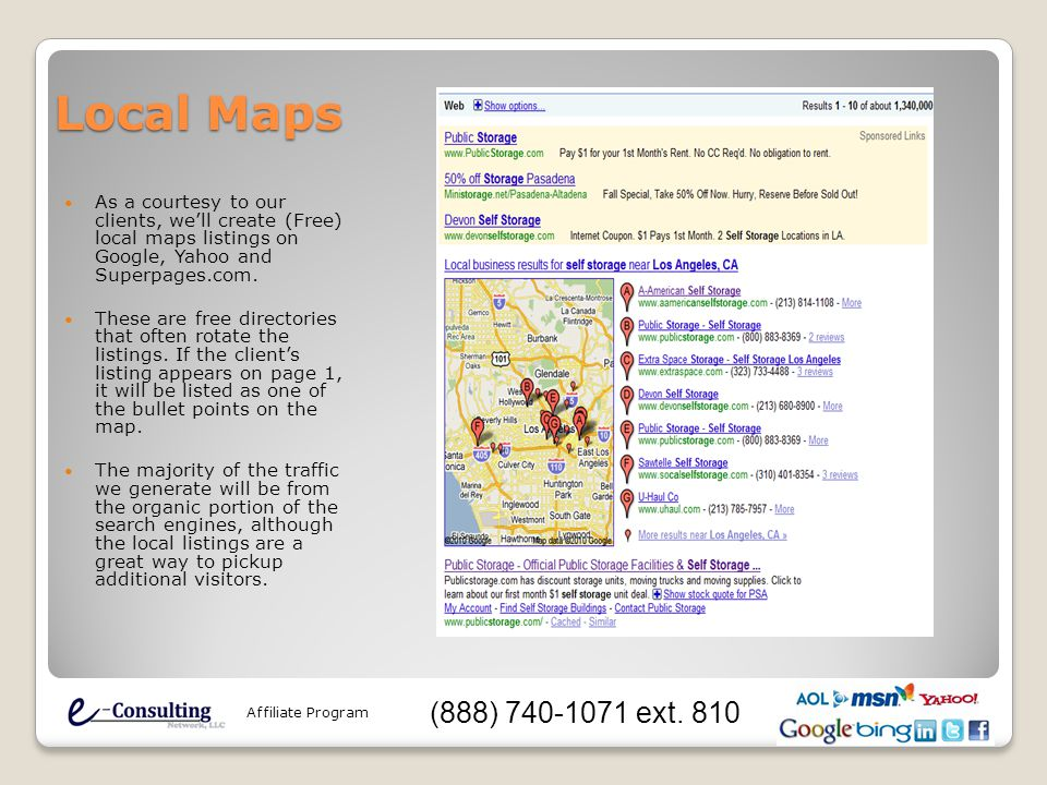 Local Maps As a courtesy to our clients, we'll create (Free) local maps listings on Google, Yahoo and Superpages.com. These are free directories that