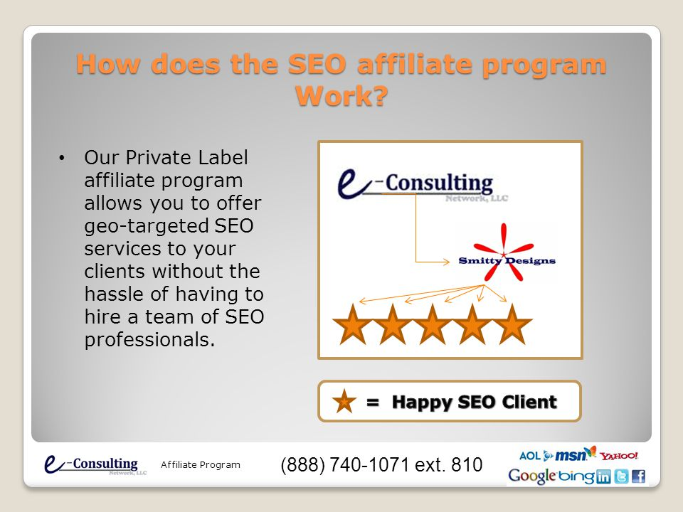 How does the SEO affiliate program Work? Our Private Label affiliate program allows you to offer geo-targeted SEO services to your clients without the