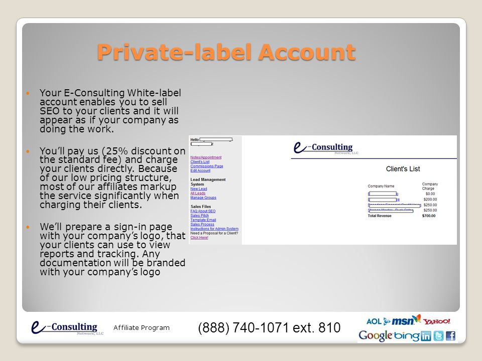 Private-label Account Your E-Consulting White-label account enables you to sell SEO to your clients and it will appear as if your company as doing the work.