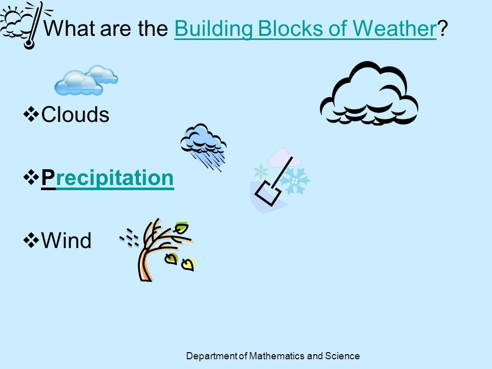 Climate Zones Climate 1.Polar 2.Temperate 3.Tropical Climate Conditions A.hot and wet all year B.very cold and dry all year C.mild to cold winters and mild to dry hot summers Department of Mathematics and Science