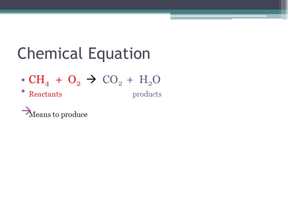 Chemical Equation CH 4 + O 2  CO 2 + H 2 O Reactantsproducts  Means to produce