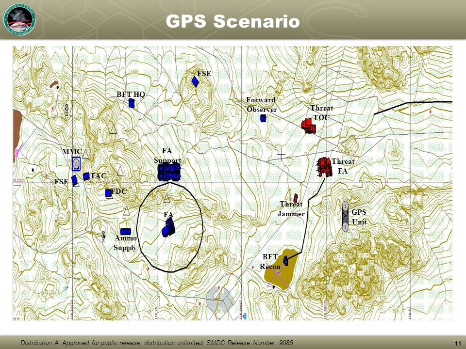 Distribution A: Approved for public release; distribution unlimited. SMDC Release Number: 9085 11 GPS Scenario Forward Observer MMC FSE BFT HQ FSE FDC