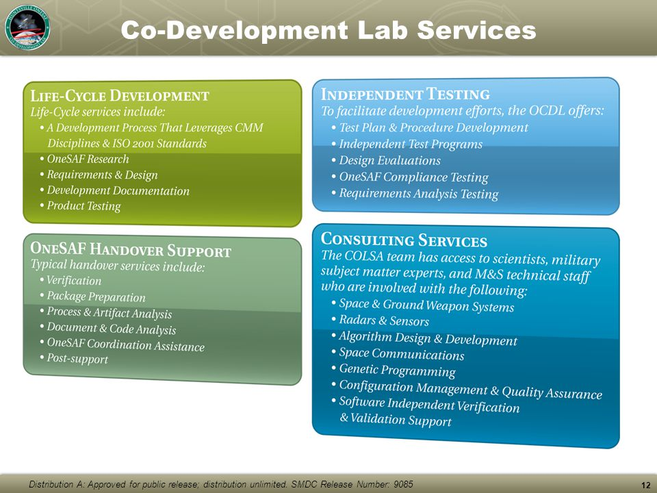 Distribution A: Approved for public release; distribution unlimited. SMDC Release Number: 9085 Co-Development Lab Services 12