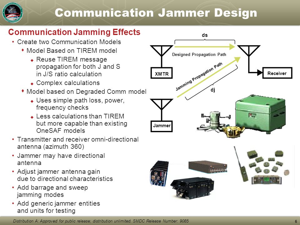 Distribution A: Approved for public release; distribution unlimited. SMDC Release Number: 9085 6 XMTR Jammer Receiver ds Designed Propagation Path dj