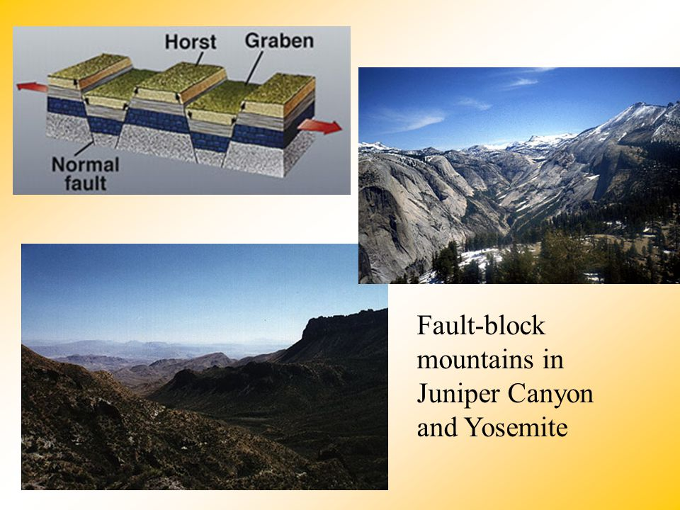 Fault-block mountains in Juniper Canyon and Yosemite