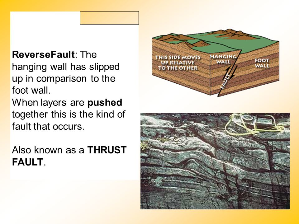 ReverseFault: The hanging wall has slipped up in comparison to the foot wall. When layers are pushed together this is the kind of fault that occurs. A