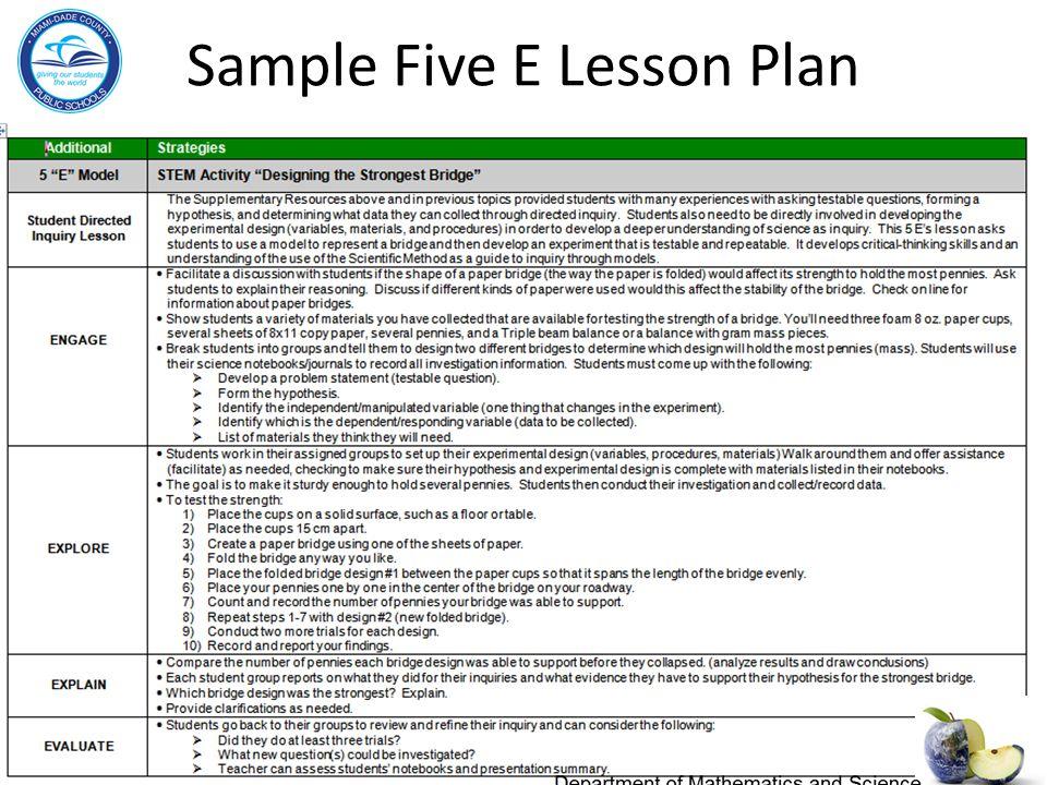 Sample Five E Lesson Plan