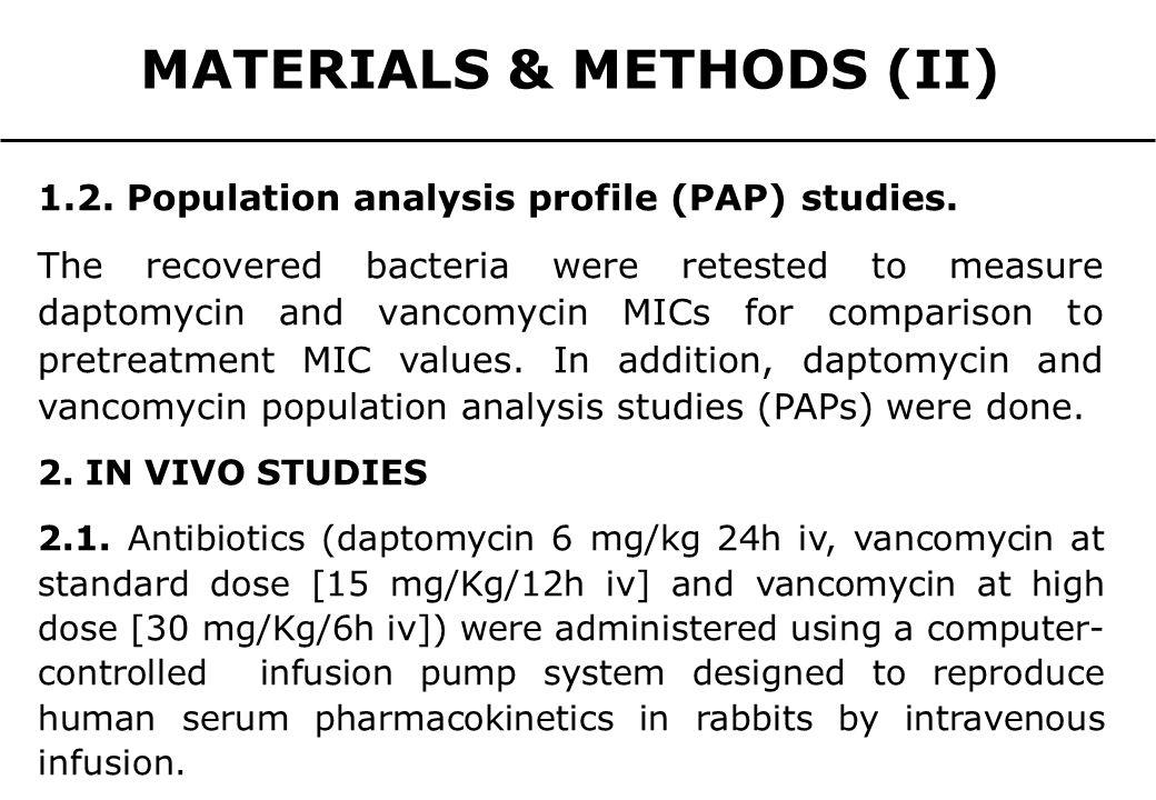 MATERIALS & METHODS (II) 1.2. Population analysis profile (PAP) studies. The recovered bacteria were retested to measure daptomycin and vancomycin MIC