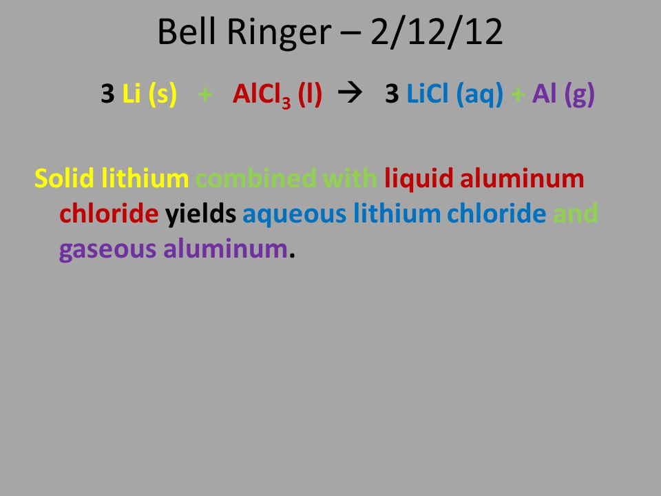 Bell Ringer – 2/12/12 3 Li (s) + AlCl 3 (l)  3 LiCl (aq) + Al (g) Solid lithium combined with liquid aluminum chloride yields aqueous lithium chlorid