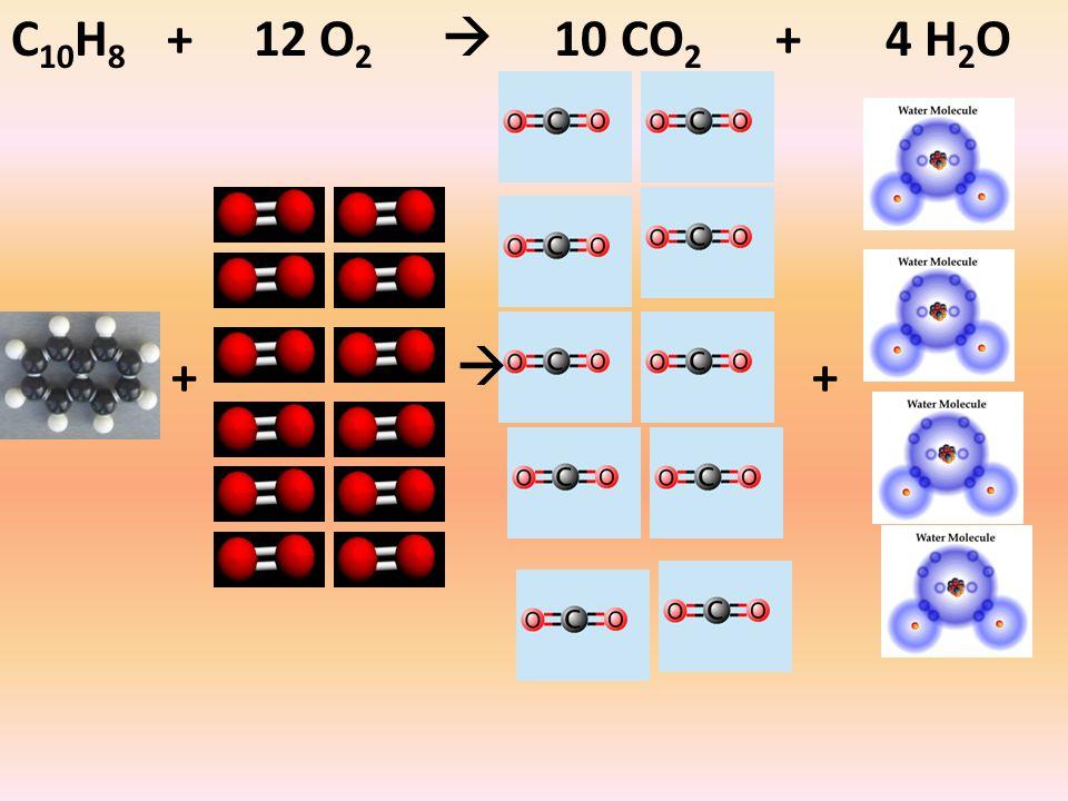 C 10 H 8 + 12 O 2  10 CO 2 + 4 H 2 O ++ 