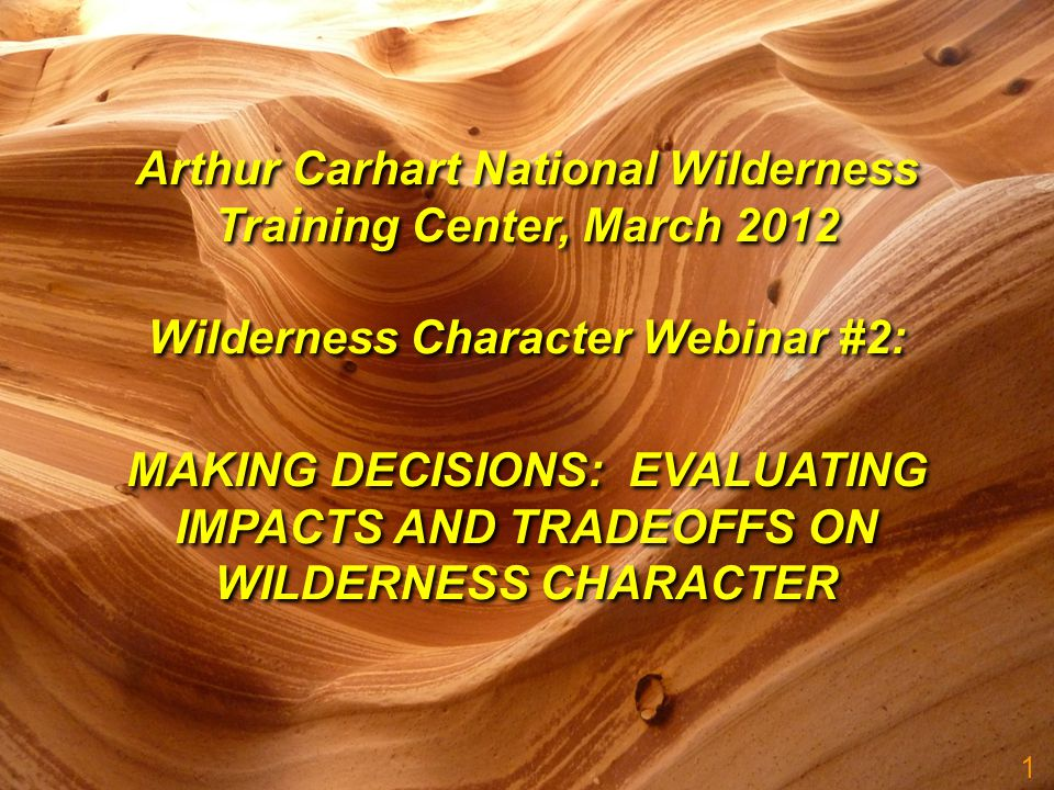 1 MAKING DECISIONS: EVALUATING IMPACTS AND TRADEOFFS ON WILDERNESS CHARACTER Arthur Carhart National Wilderness Training Center, March 2012 Wilderness