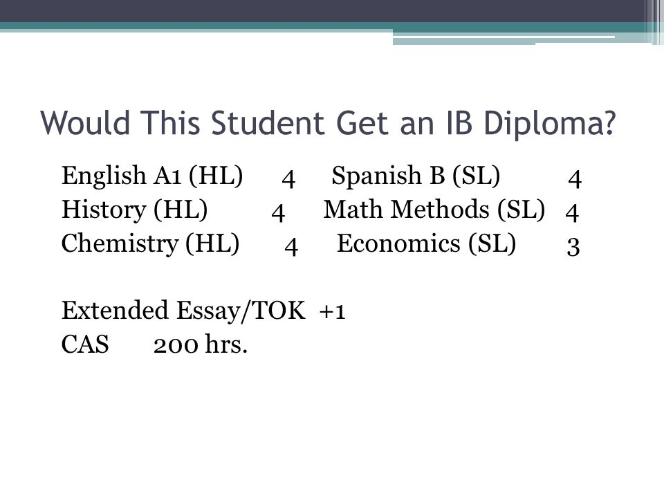 Would This Student Get an IB Diploma? English A1 (HL) 4 Spanish B (SL) 4 History (HL) 4 Math Methods (SL) 4 Chemistry (HL) 4 Economics (SL) 3 Extended