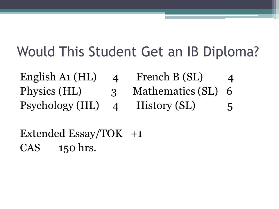 Would This Student Get an IB Diploma? English A1 (HL) 4 French B (SL) 4 Physics (HL) 3 Mathematics (SL) 6 Psychology (HL) 4 History (SL) 5 Extended Es