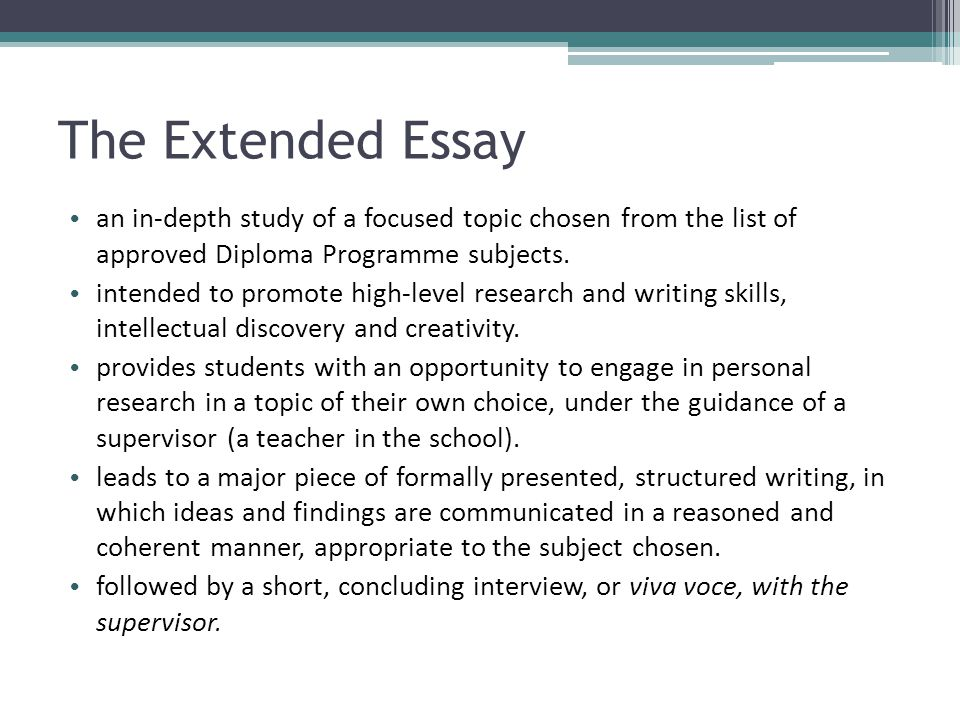 History An extended essay in history provides students with an opportunity to undertake in-depth research in an area of history of genuine interest to them.