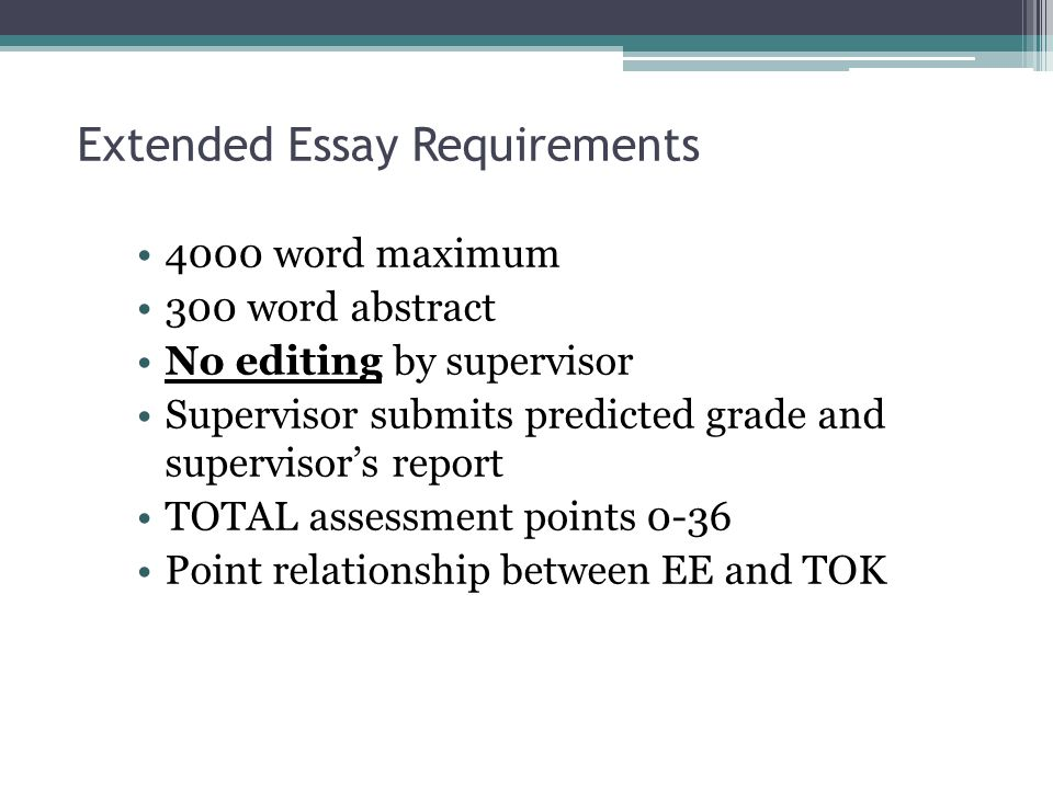 New Regulation for 2010 From 2010 onwards, 28 points overall will be required to be eligible for the diploma if a student attains an E grade in either the extended essay or theory of knowledge.