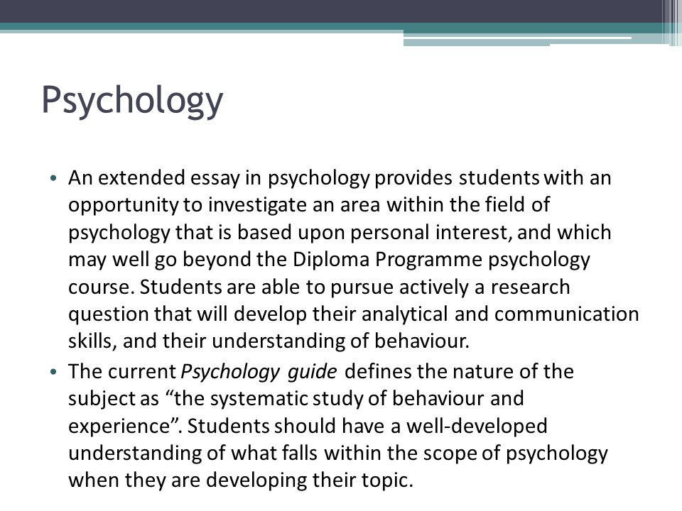 ib psychology extended essay abstract Supervisor's guide to the ib extended essay by richard k weems, extended essay coordinator, bergen county academies (hackensack, nj.