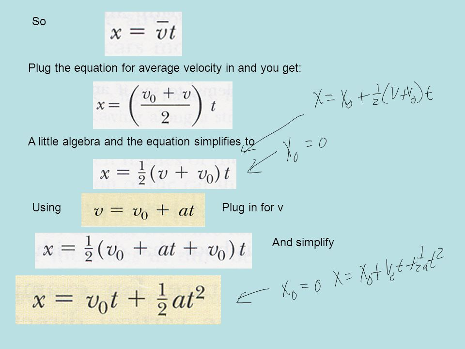 So Plug the equation for average velocity in and you get: A little algebra and the equation simplifies to UsingPlug in for v And simplify