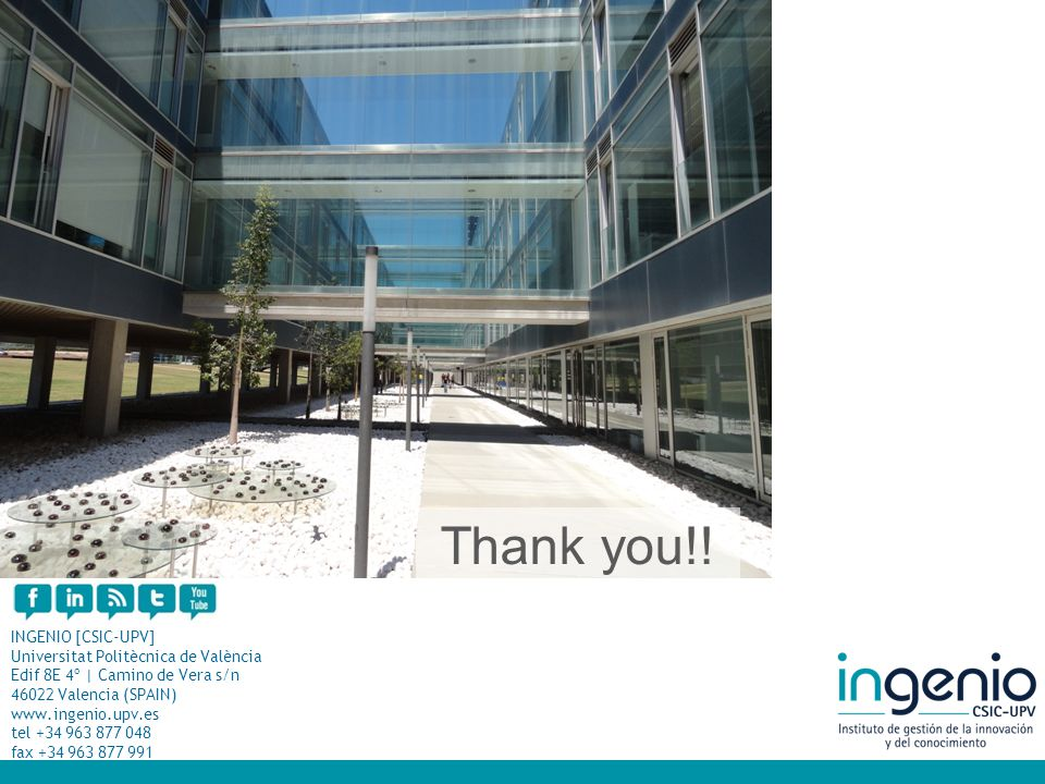 INGENIO [CSIC-UPV] Universitat Politècnica de València Edif 8E 4º | Camino de Vera s/n 46022 Valencia (SPAIN) www.ingenio.upv.es tel +34 963 877 048 f