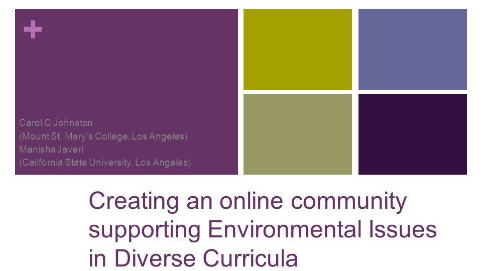 + Carol C Johnston (Mount St. Mary's College, Los Angeles) Manisha Javeri (California State University, Los Angeles) Creating an online community supp