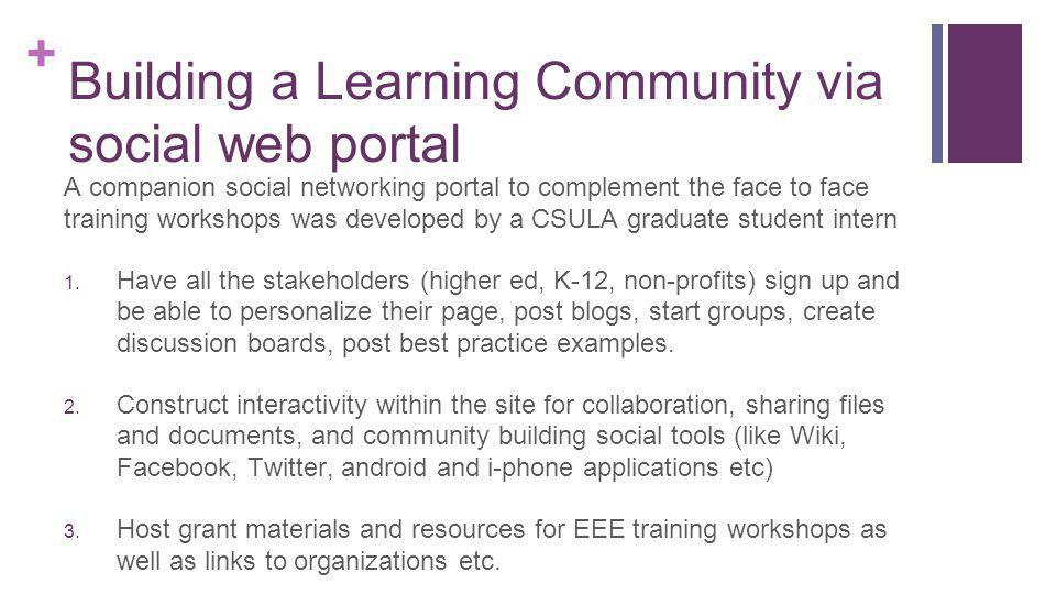+ Building a Learning Community via social web portal A companion social networking portal to complement the face to face training workshops was developed by a CSULA graduate student intern 1.