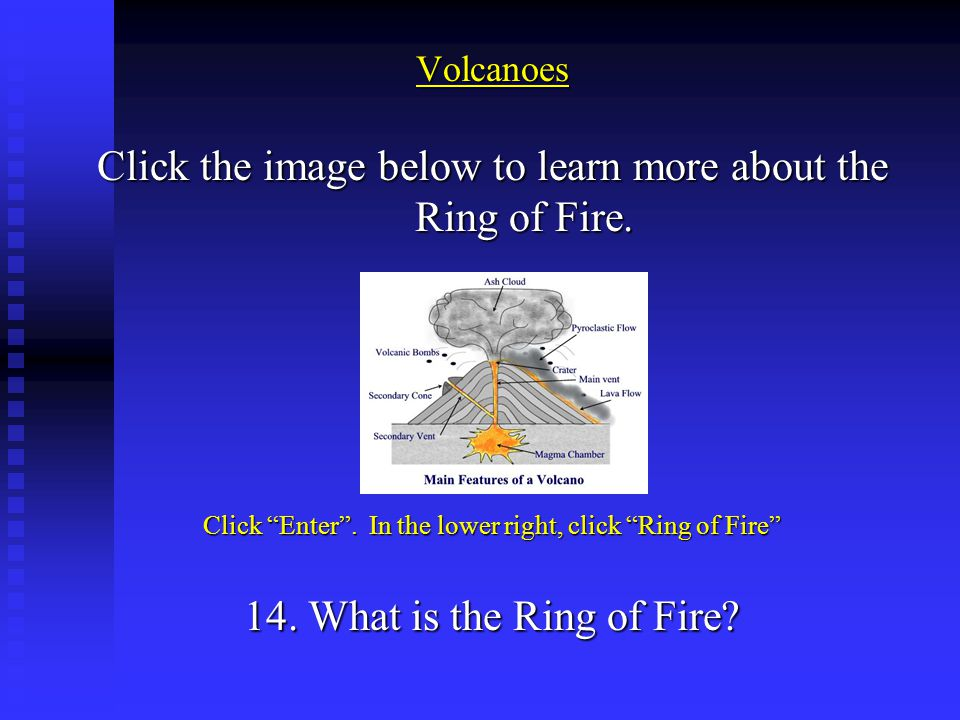 "Volcanoes Click the image below to learn more about the Ring of Fire. Click ""Enter"". In the lower right, click ""Ring of Fire"" 14. What is the Ring of"