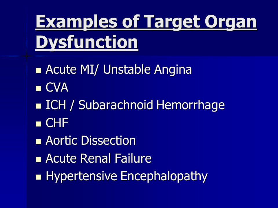 Examples of Target Organ Dysfunction Acute MI/ Unstable Angina Acute MI/ Unstable Angina CVA CVA ICH / Subarachnoid Hemorrhage ICH / Subarachnoid Hemorrhage CHF CHF Aortic Dissection Aortic Dissection Acute Renal Failure Acute Renal Failure Hypertensive Encephalopathy Hypertensive Encephalopathy
