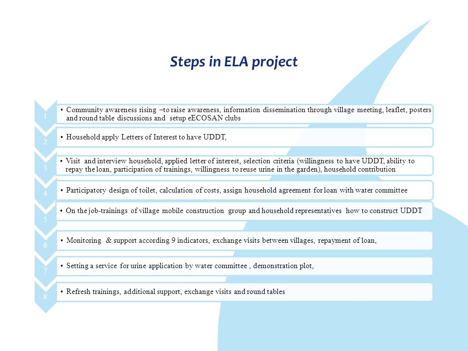 Steps in ELA project 1 Community awareness rising –to raise awareness, information dissemination through village meeting, leaflet, posters and round t