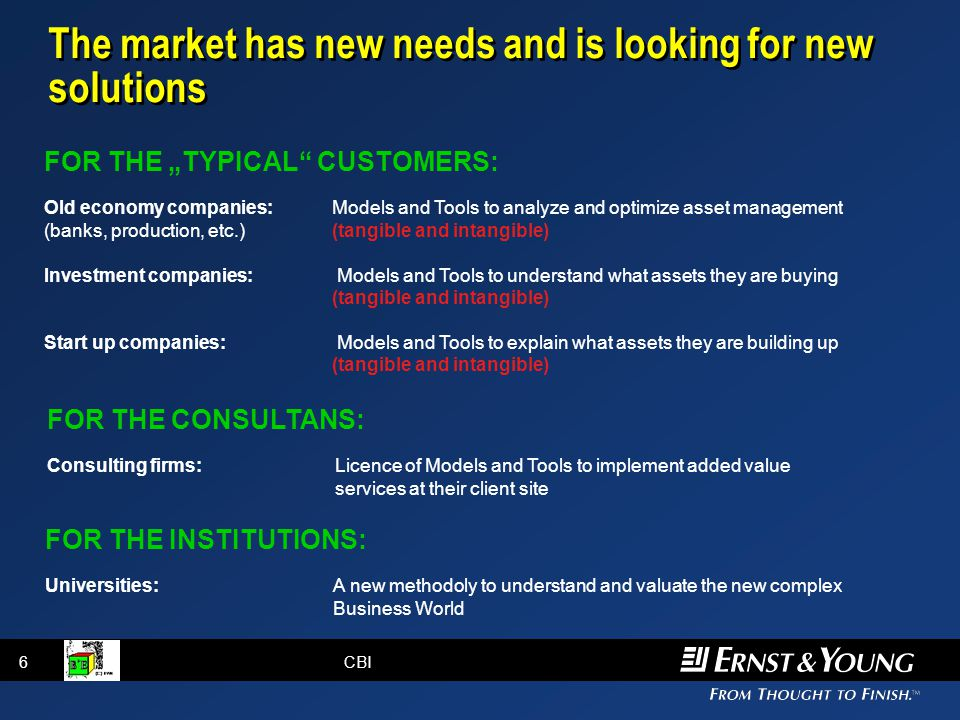 "6CBI The market has new needs and is looking for new solutions FOR THE ""TYPICAL CUSTOMERS: Old economy companies:Models and Tools to analyze and optimize asset management (banks, production, etc.)(tangible and intangible) Investment companies: Models and Tools to understand what assets they are buying (tangible and intangible) Start up companies: Models and Tools to explain what assets they are building up (tangible and intangible) FOR THE CONSULTANS: Consulting firms:Licence of Models and Tools to implement added value services at their client site FOR THE INSTITUTIONS: Universities:A new methodoly to understand and valuate the new complex Business World"