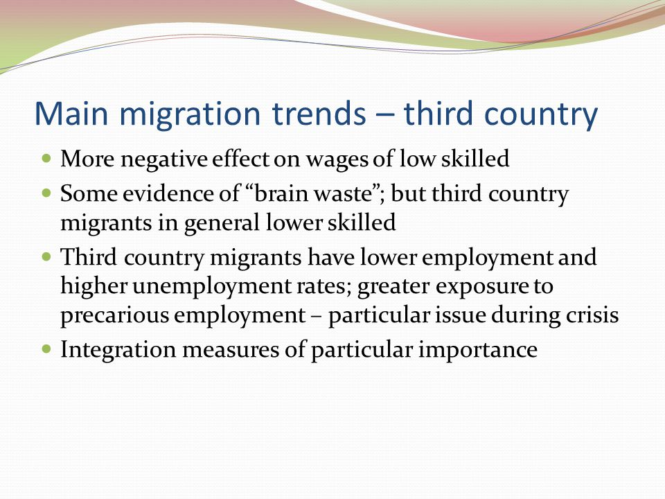 Main challenges Key policy concerns Address skills gaps and labour shortages – maximise potential of intra-EU migration Address brain drain Address illegal migration (causes and impact) Integration of migrants Avoiding social exclusion Avoiding brain waste Avoiding 2 nd and 3 rd generation issues