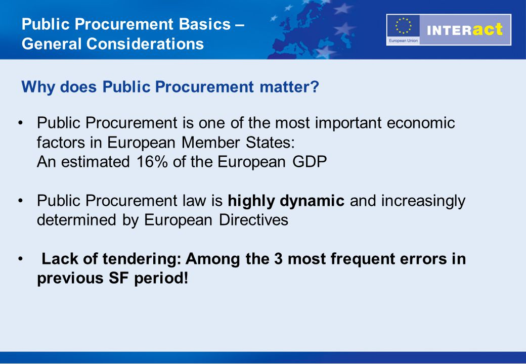 EU Procurement Directives (2004/18/EC and 2004/17/EC) relate to the award of contracts for public works, supplies and services and set up detailed rules for EU-wide competitive tendering procedures.(2004/18/EC2004/17/EC The Directives are designed to: open up the EU s public procurement market to competition, prevent 'buy national' policies and promote the free movement of goods and services foster quality, transparency and fairness Member States implemented the EU Procurement Directives into national law and MS legislations provide further clarification to the EU Directives.