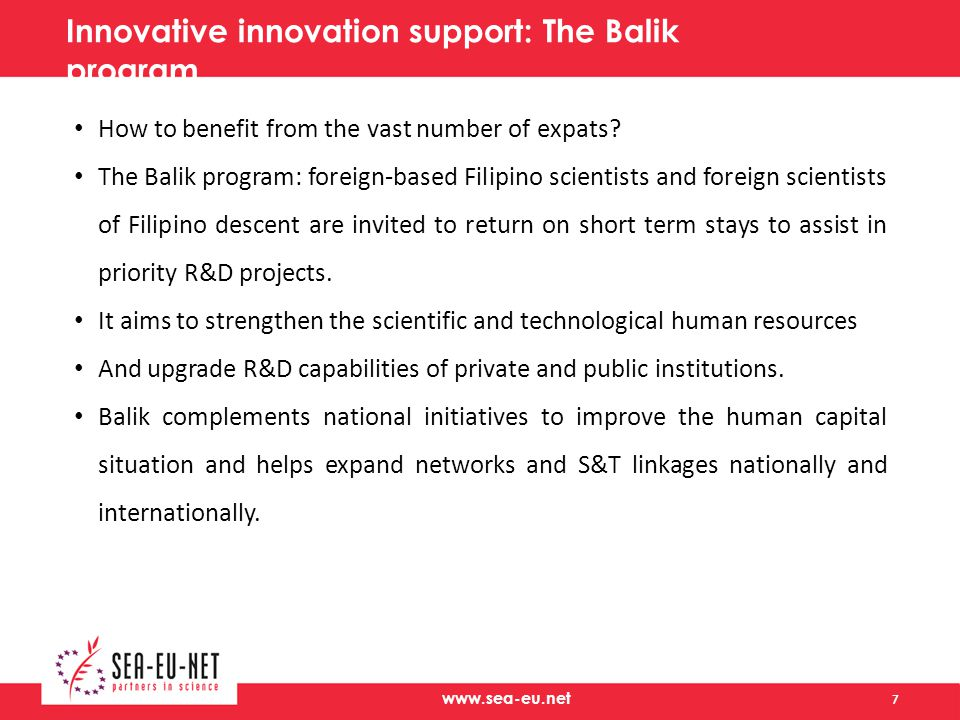 www.sea-eu.net Innovative innovation support: The Balik program How to benefit from the vast number of expats.