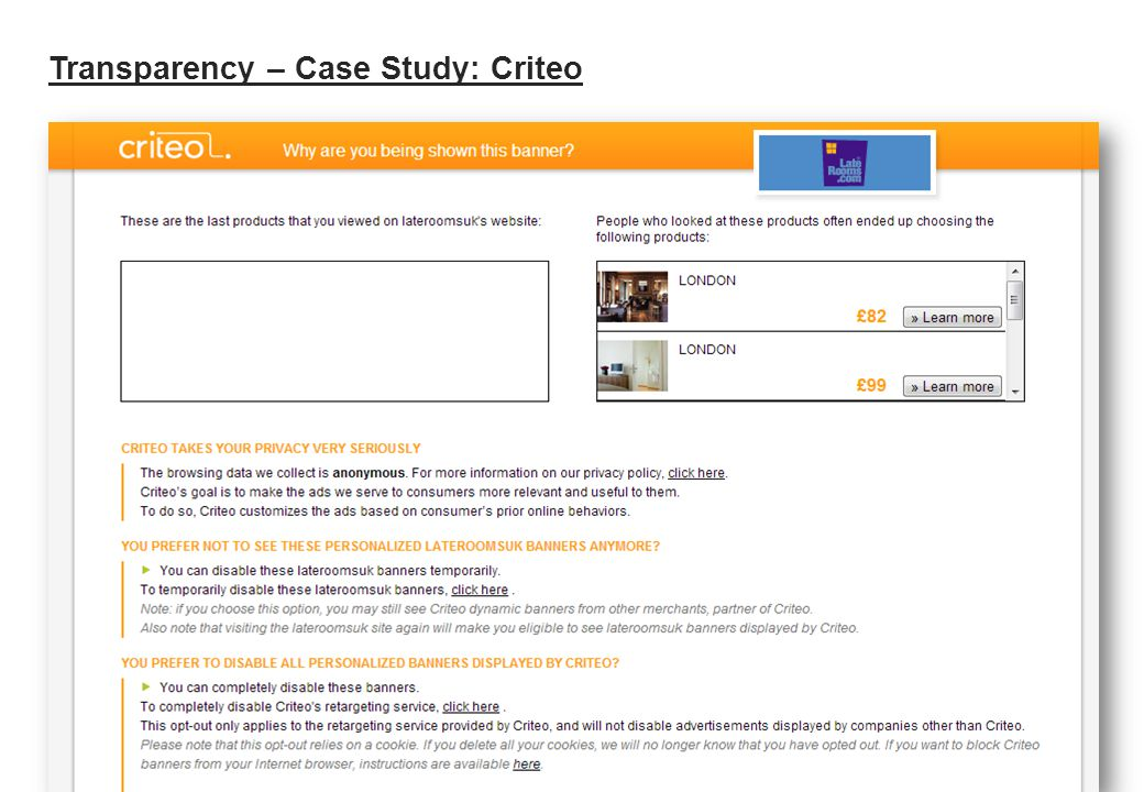 Transparency – Case Study: Criteo