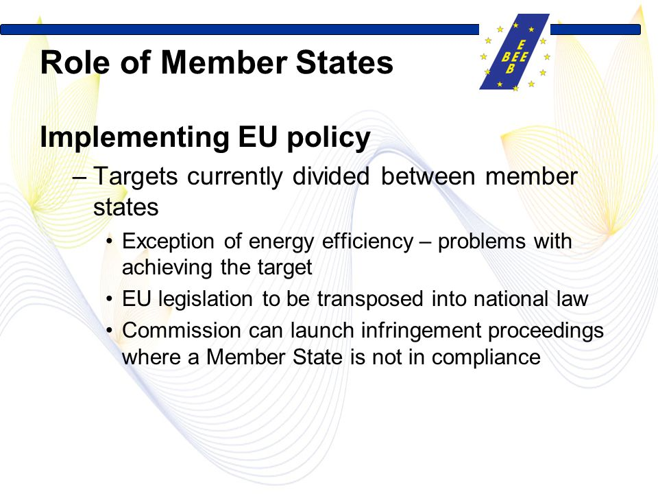 Role of Member States Implementing EU policy –Targets currently divided between member states Exception of energy efficiency – problems with achieving the target EU legislation to be transposed into national law Commission can launch infringement proceedings where a Member State is not in compliance
