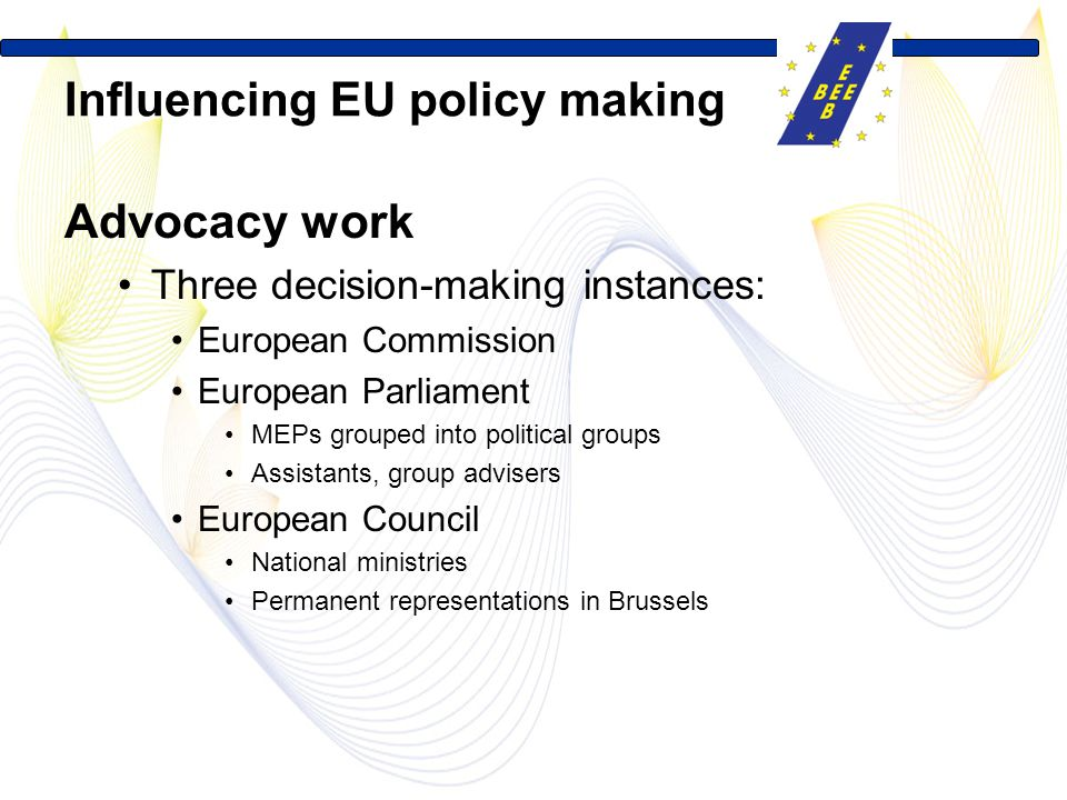 Influencing EU policy making Advocacy work Three decision-making instances: European Commission European Parliament MEPs grouped into political groups Assistants, group advisers European Council National ministries Permanent representations in Brussels
