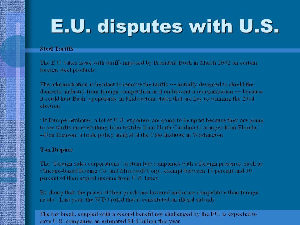 E.U. disputes with U.S.