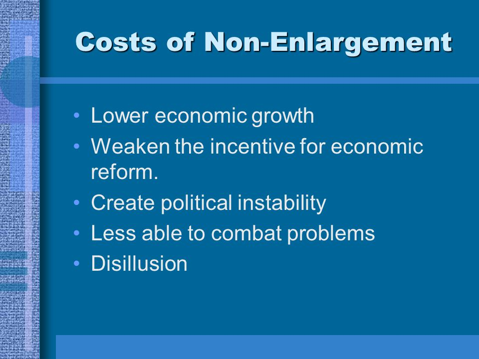 Costs of Non-Enlargement Lower economic growth Weaken the incentive for economic reform.