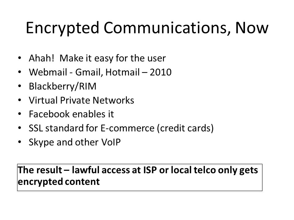 Encrypted Communications, Now Ahah.