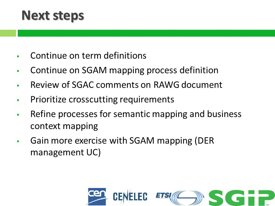 Next steps  Continue on term definitions  Continue on SGAM mapping process definition  Review of SGAC comments on RAWG document  Prioritize crossc