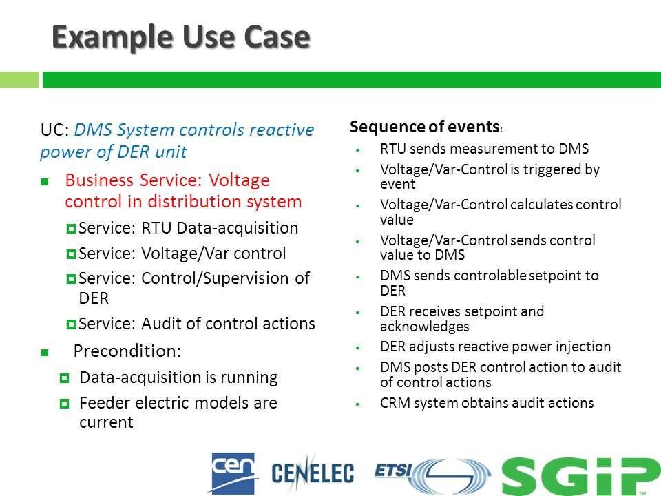 Example Use Case UC: DMS System controls reactive power of DER unit Business Service: Voltage control in distribution system  Service: RTU Data-acquisition  Service: Voltage/Var control  Service: Control/Supervision of DER  Service: Audit of control actions Precondition:  Data-acquisition is running  Feeder electric models are current Sequence of events :  RTU sends measurement to DMS  Voltage/Var-Control is triggered by event  Voltage/Var-Control calculates control value  Voltage/Var-Control sends control value to DMS  DMS sends controlable setpoint to DER  DER receives setpoint and acknowledges  DER adjusts reactive power injection  DMS posts DER control action to audit of control actions  CRM system obtains audit actions